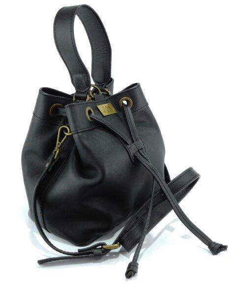 bolso bombonera de piel negro